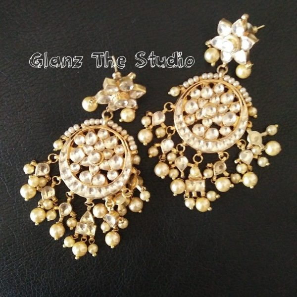 Kundan earrings gold plated